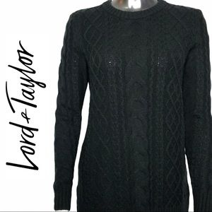 NWT Lord & Taylor Cable Knit Crew Neck Sweater